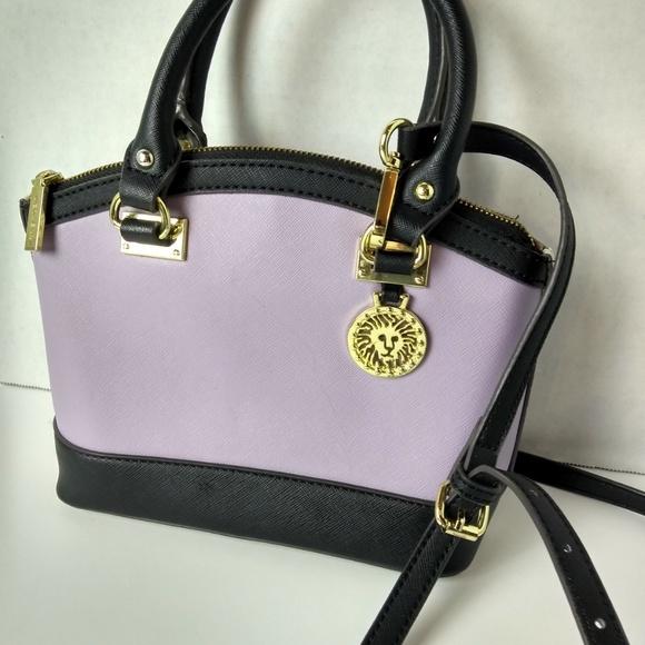 8b368fdb5d8 Anne Klein Bags   Lavender Black Satchel Purse   Poshmark how to clean anne  klein purse